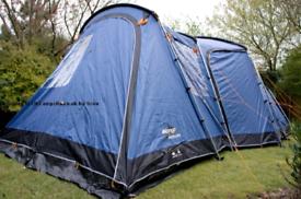 Large 5 person 3 bedroom family tent by vango .Maritsa 500 Vgc