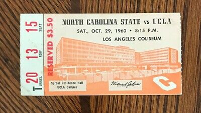 NORTH CAROLINA STATE VS UCLA OCT.29,1960 FOOTBALL TICKET STUB for sale  Shipping to Canada