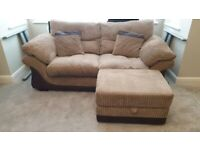 Two seater sofa with storage footstool