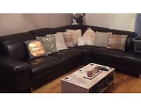 Dfs chocolate leather sofa