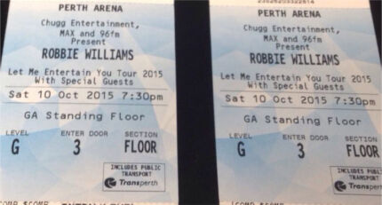 2 x Robbie Williams tickets City Beach Cambridge Area Preview