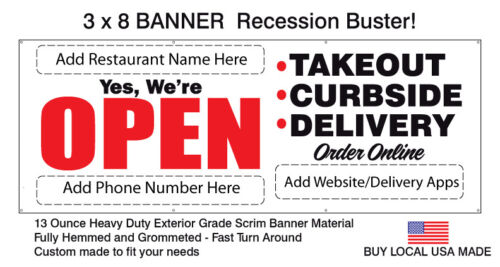 RECESSION BUSTER for Restaurants - OPEN Takeout Curbside Delivery BANNER 3