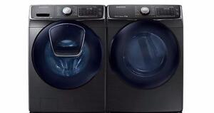 Ensemble Laveuse à chargement frontal de 5,8 pi³ + Sécheuse Frontal de 7,5 pi³ Acier inoxidable Noir Samsung