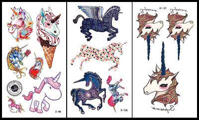 1 Set (3) Unicorn Pegasus Horse Waist Arm Neck Waterproof Temporary Tattoo   (Unicorn Tattoo)