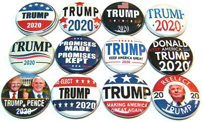 "12 DONALD TRUMP 2020 - One Inch Buttons - 1"" Pinbacks Pins Badges MAGA Re Elect"