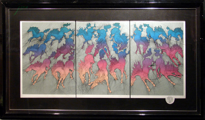 "Guillaume AZOULAY ""Cavalcade""I,II,III, 3set HAND SIGNED Remarque MAKE AN OFFER"