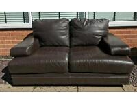 2 seater chocolate brown leather