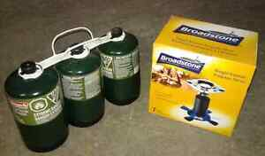single burner propane stove with 3 canisters