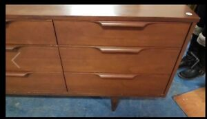 Mcm walnut dresser with mirror