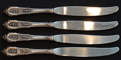 Wallace Rose Dinner Knife - 4 Vintage WALLACE Sterling Silver ROSE POINT Flatware DINNER PLACE KNIVES Knife
