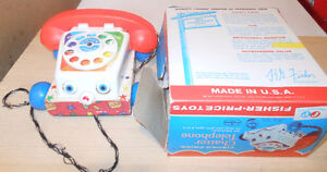 Vintage Fisher Price Toys Sets  Barn, Family House Telephone