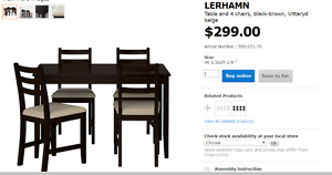 Lerhamn IKea table and 4 chairs