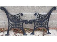 Pair Of Black Cast Iron Garden Bench Ends With Flower Decoration