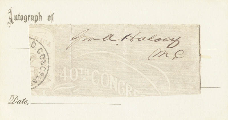 GEORGE A. HALSEY - CLIPPED SIGNATURE