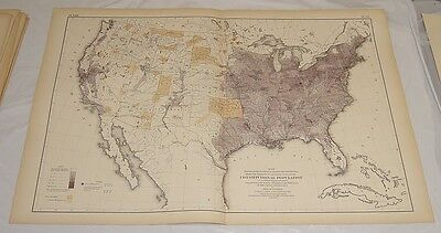 1874 Antique Map of DISTRIBUTION & DENSITY OF PEOPLE IN THE UNITED STATES/21x31