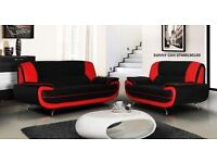**LIMITED OFFER NATION WIDE DELIVERY OPTION AVAILABEL** 3 AND 2 SEATER SOFA IN BLACK AND RED WHITE