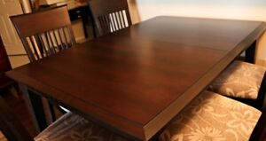 Customer made oak large dining room table & 4 chairs