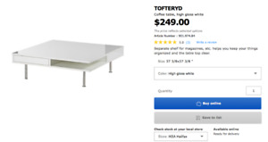 Sale Ikea coffee table(200)/ TV stand(50)/Slatted bed base(30)