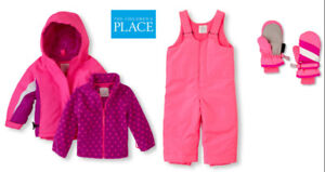 Toddler Girl Winter 3-In-1 Jacket, Ski Overalls, Mittens Size 3T