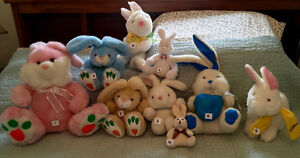 Various plush BUNNY teddy bears- various sizes and prices