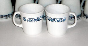 Pyrex and Corning Coffee mugs in OLD TOWN BLUE design Windsor Region Ontario image 2
