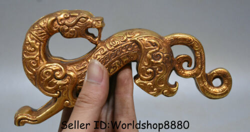 """6.6"""" Antiquity Old Chinese Copper gilt Gold Dynasty Beast tiger-shaped symbol"""