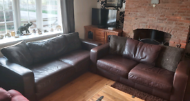 3 + 2 Seater Brown Leather QUALITY Sofas