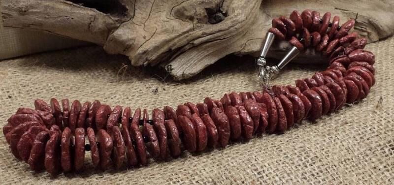 """21"""" gradual chocolate color howlite  flat bead necklace/(y451-w3.5)"""