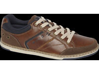 BRAND NEW BROWN CASUAL MENS SIZE 9 EUR 43 SHOES RRP £25 LEICESTER