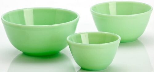 Mixing Nesting Bowls Set 3 Stackable - Jade Jadeite Green Glass - Mosser USA