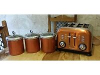 Morphy Richards Accents 4 Slice copper Toaster & Canisters