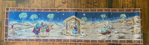 Vintage CHRISTMAS NATIVITY TAPESTRY TABLE RUNNER~Mary*Joseph*Jesus