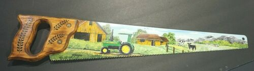 Hand Painted Hand Saw Folk Wall Art Cows Tractor Barns Signed by SKsinski