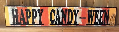 AG Designs Halloween Decor - Long Mantle Sign Happy Candy-Ween #82417