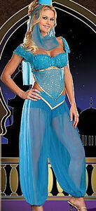 Blue Princess Jasmine Genie Belly Dancer Fancy Dress Costume in many sizes`