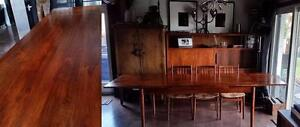 NEW SOLID WOOD Dining Tables Expandable with 2 leaves (draw leaf/ self storing) MCM style