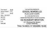 GOGOL BORDELLO LONDON CONCERT 14/12/2017