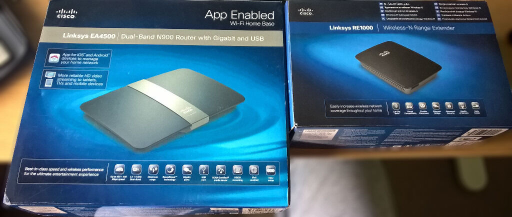 Cisco Linksys EA4500 Dual Band N900 Router + RE1000 Range Extender ...