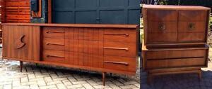 REFINISHED Mid Century Modern Walnut Tallboy,  9 Drawer Dresser Credenza 3-Dimensional
