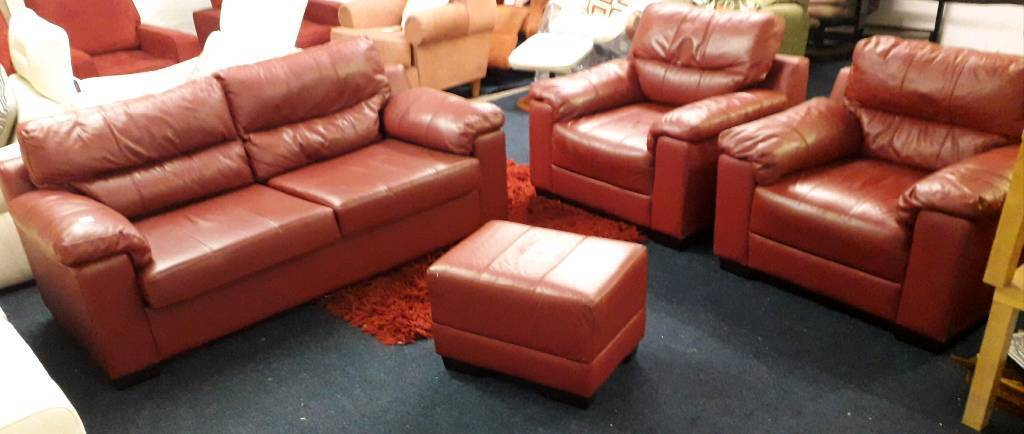 Real Leather 3 Seater Sofa Bed Plus 2 Chairs Footstool Deep Red