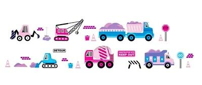 Large Greenhouse Equipment - Construction Equipment Wall Decal Sticker Childs Bedroom Playroom Nursery Pink