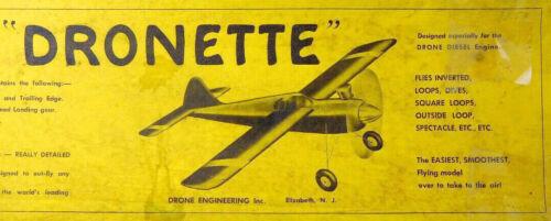 "Vintage DRONETTE PLANS + PARTS PATTERNS for 35"" OT UC Stunt Model Airplane"