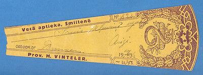 1932s LATVIA LETTLAND VINTAGE PHARMACY LABEL 3945