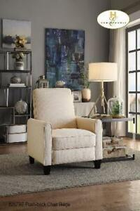 Push Back Recliner Chair in Beige Fabric on Sale (BD-2428)