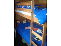 Thuka solid pine bunk beds with fixed ladders (can be used as singles)