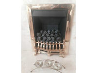 GAS FIRE, open flame c/w Brass Surround etc Excellent Condition