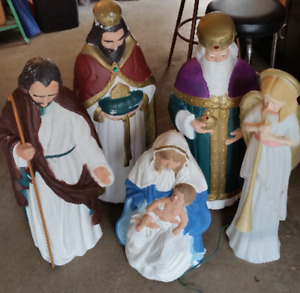 CHRISTMAS BLOW MOLD NATIVITY DECORATIONS RELIGIOUS VINTAGE