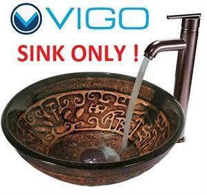 NEW VIGO GLASS VESSEL SINK BRONZE/COPPER COLORWAY Home Improvement Bathroom Fixtures