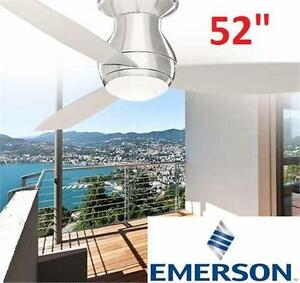 "NEW* EMERSON LED CEILING FAN 52"" CURVA SKY - MODERN - LOW PROFILE/HUGGER W/REMOTE CEILING LIGHT BRUSHED STEEL 93770567"