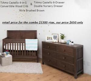 *new* TiAmo Castello 4-in-1 Convertible Wood Crib & 6-Drawer Double Nursery Dresser - Wire Brushed Brown